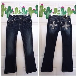 Miss Me Embellished Sequin Cross Boot Cut Jeans